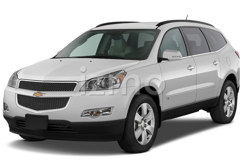 Front three quarter view of a 2009 Chevrolet Traverse LTZ.
