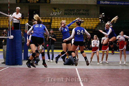 Trent Nelson  |  The Salt Lake Tribune.As the ball flies out of bounds for the final set point, Richfield players celebrate their state championship win. Richfield defeats San Juan for the 2A high school State Championship at Utah Valley University in Orem, UT on Saturday, October 29, 2011.