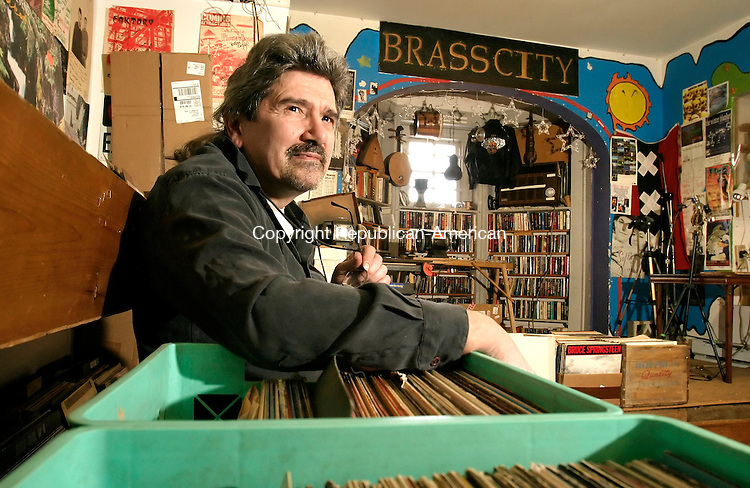 WATERBURY, CT--03 APRIL 2007--040307JS06- Walt Quadrato, owner of Brass City Records in Waterbury, is among those helping to launch a local Internet radio station that will broadcast Waterbury-area bands and musicians.<br /> Jim Shannon / Republican-American