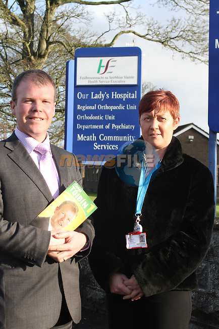 Peadar Tóibín, Navan with Noeleen Donoghue, Secretary of Navan Hospital Campaign before the election Feb 2011..(Photo credit should read Jenny Matthews www.newsfile.ie)....This Picture has been sent you under the conditions enclosed by:.Newsfile Ltd..The Studio,.Millmount Abbey,.Drogheda,.Co Meath..Ireland..Tel: +353(0)41-9871240.Fax: +353(0)41-9871260.GSM: +353(0)86-2500958.email: pictures@newsfile.ie.www.newsfile.ie.