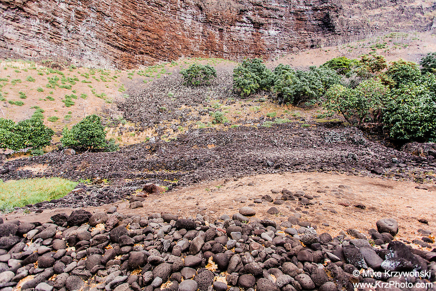 Remains of authentic ancient Hawaiian heiau in Nualolo Kai village, Na Pali coast, Kauai