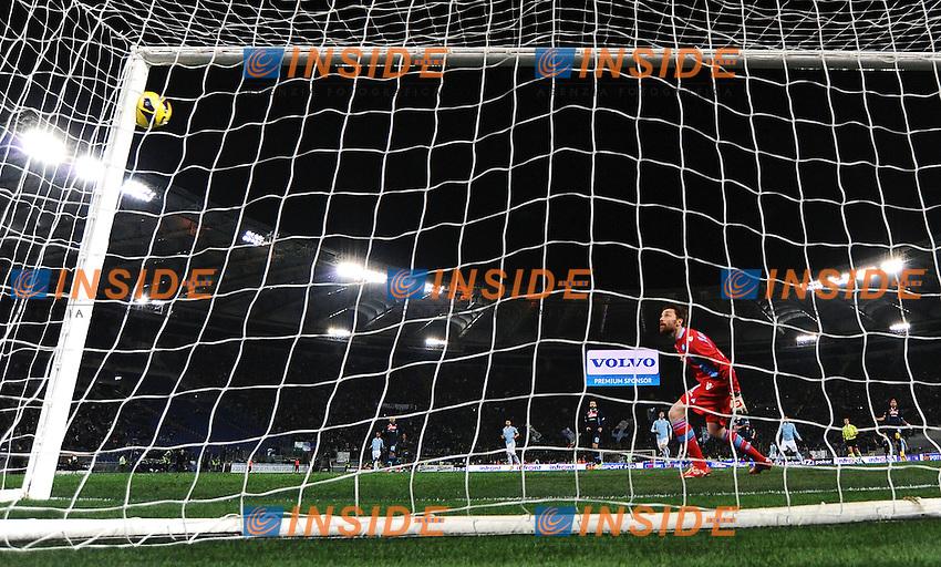 Palo di Hernanes Lazio su calcio di punizione.Roma 09/02/2013 Stadio Olimpico.Football Calcio 2012/2013 Serie A.Lazio Vs Napoli.Foto Andrea Staccioli Insidefoto