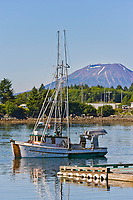 "Commercial fishing vessel ""Charisma"" in Sealing Cove, Japonski Island, Mount Edgecumbe volcano, Sitka, Alaska."