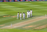 The Black Caps walk from the pitch after dismissing India during day four of the International Test Cricket match between the New Zealand Black Caps and India at the Basin Reserve in Wellington, New Zealand on Monday, 24 February 2020. Photo: Dave Lintott / lintottphoto.co.nz