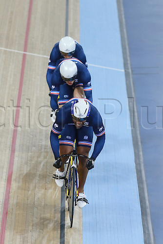 02.03.2016. Lee valley Velo Centre. London England. UCI Track Cycling World Championships Men&rsquo;s team sprint.  Team France <br /> BAUGE Gregory - SIREAU Kevin - DALMEIDA D ALMEIDA Michael