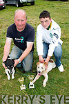MikeJoe O'Sullivan with his winning dog Smokey and Michael O'Grady holds 2nd placed Fluke,both from Cahersiveen after the terrier race final on Sunday afternoon at the Fenit Seabreeze festival last Weekend..