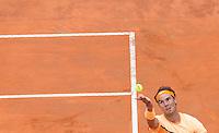 Lo spagnolo Rafael Nadal al servizio nel corso degli Internazionali d'Italia di tennis a Roma, 13 maggio 2016.<br /> Spain's Rafael Nadal serves the ball to Serbia's Novak Djokovic during the italian Open tennis in Rome, 13 May 2016.<br /> UPDATE IMAGES PRESS/Riccardo De Luca