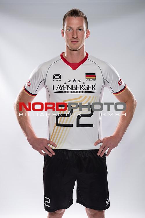 24.05.2015, Sportzentrum Westenfeld, Bochum<br /> Volleyball, Fotoshooting Nationalmannschaft MŠnner / Maenner<br /> <br /> Falko Steinke (#22 GER)<br /> <br />   Foto &copy; nordphoto / Kurth