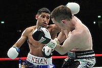 Amir Khan defeats Paul Mc Closkey via a 5th round technical decision at the Mannchester Evening News Arena. 16th April 2011