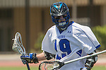 Orange, CA 05/17/14 - Zack Grusell (Grand Valley State #19) in action during the 2014 MCLA Division II Men's Lacrosse Championship game between Grand Valley State University and St John University at Chapman University in Orange, California.  Grand Valley Defeated St John 12-11.