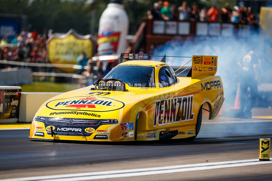 Aug 19, 2017; Brainerd, MN, USA; NHRA funny car driver Matt Hagan during qualifying for the Lucas Oil Nationals at Brainerd International Raceway. Mandatory Credit: Mark J. Rebilas-USA TODAY Sports