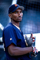 Juan Encarnacion of the Detroit Tigers plays in a baseball game at Edison International Field during the 1998 season in Anaheim, California. (Larry Goren/Four Seam Images)