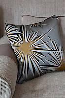 Detail of a silver silk cushion with a star burst pattern