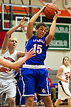 02/05/13--La Salle Prep Falcons forward Andrea Novak (15) grabs a rebound over Gladstone Gladiators guard Alisa Bradshaw (14) in the first half at Gladstone High School....Photo by Jaime Valdez.