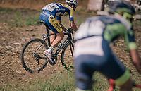 Emiel Planckaert (BEL/Sport Vlaanderen - Baloise) taking the 'off-road' spirit of this race one step further... <br /> <br /> <br /> 3rd Dwars Door Het hageland 2018 (BEL)<br /> 1 day race:  Aarschot &gt; Diest: 198km