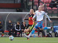 20161023 - TUBIZE , BELGIUM : Belgian Tine Schryvers (L) and Russian Anna Belomyttseva (R) pictured during a friendly game between the women teams of the Belgian Red Flames and Russia at complex Euro 2000 in Tubize , Sunday 23 October 2016 ,  PHOTO Dirk Vuylsteke | Sportpix.Be