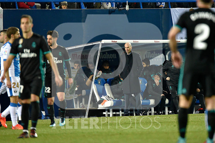 Leganes vs Real Madrid coach Zinedine Zidane dejected during Copa del Rey  match. A quarter of final go. 20180118.