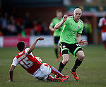 Victor Nirennold of Fleetwood Town tackles Conor Sammon of Sheffield Utd - English League One - Fleetwood Town vs Sheffield Utd - Highbury Stadium - Fleetwood - England - 5rd March 2016 - Picture Simon Bellis/Sportimage