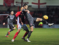 Lincoln City's Jason Shackell shields the ball from Crewe Alexandra's Jordan Bowery<br /> <br /> Photographer Andrew Vaughan/CameraSport<br /> <br /> The EFL Sky Bet League Two - Crewe Alexandra v Lincoln City - Wednesday 26th December 2018 - Alexandra Stadium - Crewe<br /> <br /> World Copyright &copy; 2018 CameraSport. All rights reserved. 43 Linden Ave. Countesthorpe. Leicester. England. LE8 5PG - Tel: +44 (0) 116 277 4147 - admin@camerasport.com - www.camerasport.com