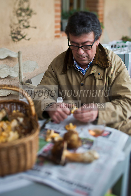 Europe/France/Midi-Pyrénées/82/Tarn-et-Garonne/Saint-Étienne-de-Tulmont: Christian Constant est ses amis  nettoient les champignons [Non destiné à un usage publicitaire - Not intended for an advertising use]