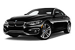 Stock pictures of low aggressive front three quarter view of a 2019 BMW 4 Series 430i Coupe 2 Door Coupe