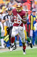Landover, MD - September 23, 2018: Washington Redskins running back Adrian Peterson (26) breaks free for a big gain during game between the Green Bay Packers and the Washington Redskins at FedEx Field in Landover, MD. The Redskins get the win 31-17 over the visiting Packers. (Photo by Phillip Peters/Media Images International)