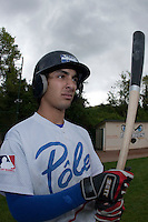 29 April 2009: Thomas Medina waits in the batter box during the first of six 2009 MLB European Academy Try-out Sessions throughout Europe, at Stade Pierre Rolland, in Rouen, France. Try-out sessions are run by members of the Major League Baseball Scouting Bureau with assistance from MLBI staff.