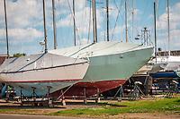 Boats in Dry Dock Bayfield Wisconsin.