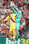 Athletic de Bilbao's Raul Garcia (b) and FC Barcelona's Gerard Pique (l) and Marc-Andre Ter Stegen during La Liga match. August 16,2019. (ALTERPHOTOS/Acero)