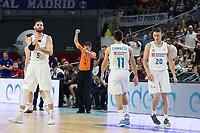 Madrid, 12 de noviembre de 2017. Los jugadores del Real Madrid se lamentan durante el encuentro entre el Real Madrid Baloncesto y FC Barcelona Lassa, correspondiente a la octava jornada de la Liga Endesa, disputado en el WiZink Center. (Foto: Mateo Villalba-Agencia LOF)