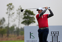 Francesco Molinari (ITA) tees off the 14th tee during Sunday's Final Round of the 2014 BMW Masters held at Lake Malaren, Shanghai, China. 2nd November 2014.<br /> Picture: Eoin Clarke www.golffile.ie