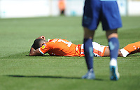 Blackpool's Michael Nottingham lies on the pitch after being fouled<br /> <br /> Photographer Kevin Barnes/CameraSport<br /> <br /> The EFL Sky Bet League One - Wycombe Wanderers v Blackpool - Saturday 4th August 2018 - Adams Park - Wycombe<br /> <br /> World Copyright &copy; 2018 CameraSport. All rights reserved. 43 Linden Ave. Countesthorpe. Leicester. England. LE8 5PG - Tel: +44 (0) 116 277 4147 - admin@camerasport.com - www.camerasport.com