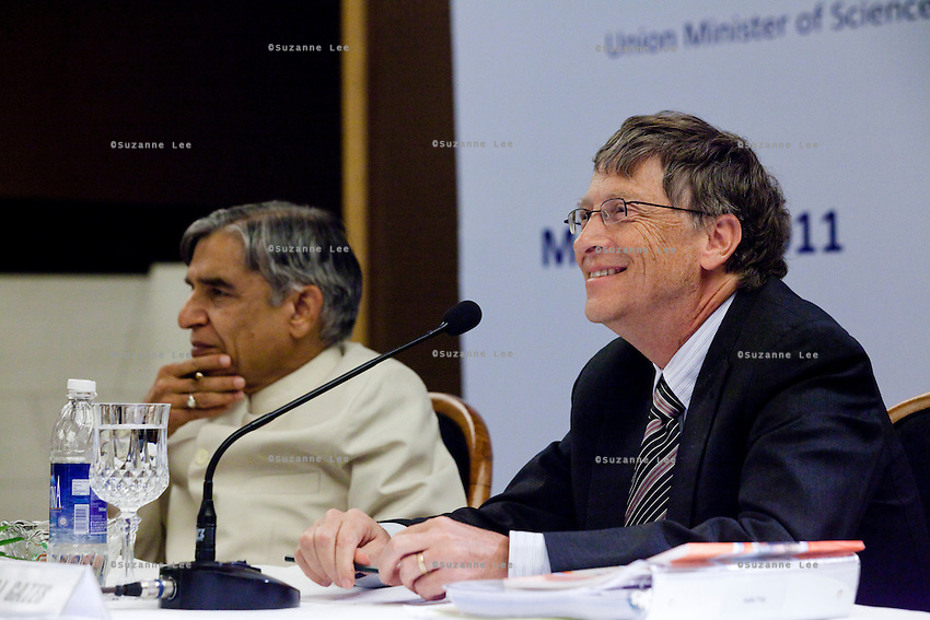 "Bill Gates, co-chair of the Bill and Melinda Gates Foundation (BMGF) speaks about Tuberculosis issues as the Union Minister of Science and Technology /Minister of Earth Sciences / Minister of Parliamentary Affairs, Shri Pawan Kumar Bansal, looks on at the ""Maximising India's Capacity"" press briefing hosted by the Ministry of Science and Technology, Government of India in Le Meridien Hotel, New Delhi, India on 24th March 2011.."