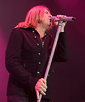 Joe Elliott, singer for the classic hard rock band Def Leppard, performs at the Susquehanna Bank Center in Camden, NJ June 26, 2011. Copyright EML/Rockinexposures.com.