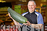 Anthony Clifford Manager of Horan's Fruit & Veg in Clash with a giant Courgette grown in the Maherees..