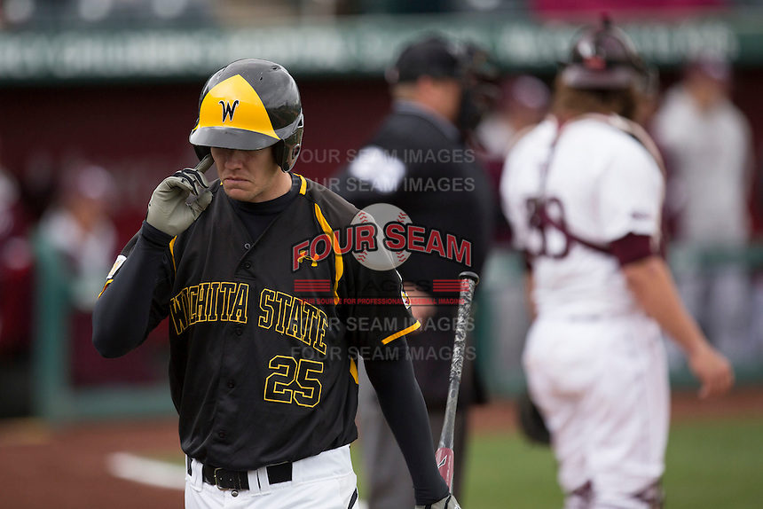 Johnny Coy #25 of the Wichita State Shockers reacts after striking out during a game against the Missouri State Bears at Hammons Field on May 4, 2013 in Springfield, Missouri. (David Welker/Four Seam Images)