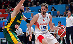 Spain's Pau Gasol (R) vies with Lithuania's Jonas Valanciunas (L) during European championship basketball final match between Spain and Lithuania on September 20, 2015 in Lille, France  (credit image & photo: Pedja Milosavljevic / STARSPORT)