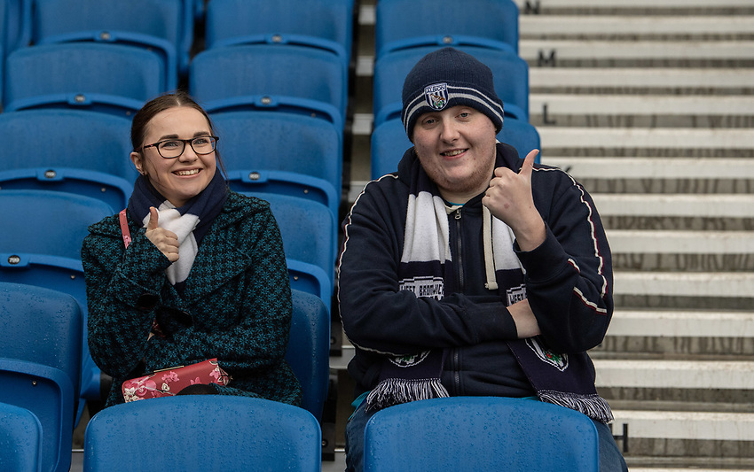 West Bromwich fans<br /> <br /> Photographer David Horton/CameraSport<br /> <br /> Emirates FA Cup Fourth Round - Brighton and Hove Albion v West Bromwich Albion - Saturday 26th January 2019 - The Amex Stadium - Brighton<br />  <br /> World Copyright © 2019 CameraSport. All rights reserved. 43 Linden Ave. Countesthorpe. Leicester. England. LE8 5PG - Tel: +44 (0) 116 277 4147 - admin@camerasport.com - www.camerasport.com