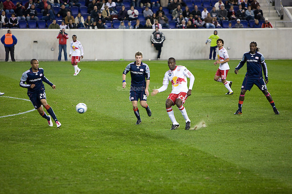 Darrius Barnes, Jason Griffiths, Salou Ibrahim, and Shalrie Joseph during the New York Red Bulls final match of the season against the New England Revolution at Red Bull Arena in Harrison, New Jersey on 21 October 2010.
