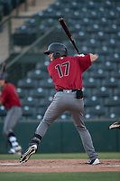 AZL Diamondbacks right fielder Ben DeLuzio (17) at bat during an Arizona League game against the AZL Angels at Tempe Diablo Stadium on June 27, 2018 in Tempe, Arizona. The AZL Angels defeated the AZL Diamondbacks 5-3. (Zachary Lucy/Four Seam Images)
