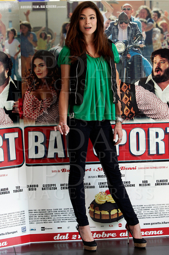 "L'attrice e modella Aura Rolenzetti posa durante un photocall per la presentazione del film ""Bar Sport"", a Roma, 17 ottobre 2011..Italian actress and model Aura Rolenzetti poses during a photocall for the presentation of the movie ""Bar Sport"" in Rome, 17 october 2011..UPDATE IMAGES PRESS/Riccardo De Luca"