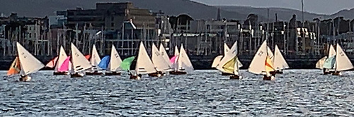 Classic summer evening in Dun Laoghaire as 27 guys are busy downwind in the Water Wags