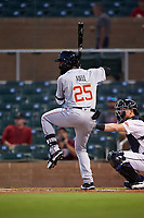 Mesa Solar Sox Jo Adell (25), of the Los Angeles Angels organization, at bat during an Arizona Fall League game against the Salt River Rafters on September 19, 2019 at Salt River Fields at Talking Stick in Scottsdale, Arizona. Salt River defeated Mesa 4-1. (Zachary Lucy/Four Seam Images)
