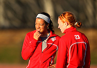 COLLEGE PARK, MARYLAND - April 03, 2013:  Skyy Anderson (19) and Tori Huster (23) of The Washington Spirit before the game against the University of Maryland women's soccer team in a NWSL (National Women's Soccer League) pre season exhibition game at Ludwig Field in College Park Maryland on April 03. Maryland won 2-0.