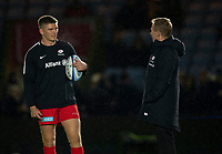 Saracens' Head Coach Mark McCall with Saracens' Owen Farrell<br /> <br /> Photographer Bob Bradford/CameraSport<br /> <br /> Gallagher Premiership - Harlequins v Saracens - Saturday 6th October 2018 - Twickenham Stoop - London<br /> <br /> World Copyright &copy; 2018 CameraSport. All rights reserved. 43 Linden Ave. Countesthorpe. Leicester. England. LE8 5PG - Tel: +44 (0) 116 277 4147 - admin@camerasport.com - www.camerasport.com