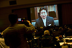 Food Summit in Sendai, Miyagi Prefecture, Japan on 30 Nov. 2011. .Photographer: Robert GilhoolyYukio Endo, Japan's minister for economy, trade and industry, speaks through a recorded message at the Food Summit in Sendai, Miyagi Prefecture, Japan on 30 Nov. 2011. .Photographer: Robert GilhoolyYukio Edano, minister for economy, trade and industry, speaks via a recorded message at the Food Industry Summit 2011 in Sendai, Japan on November 30, 2011. .Photographer: Robert Gilhooly