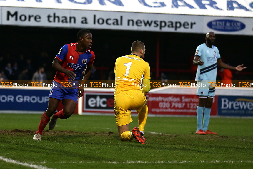 Liam Gordon of Dagenham scores the second goal for his team and celebrates during Dagenham & Redbridge vs Boreham Wood, Vanarama National League Football at the Chigwell Construction Stadium on 5th January 2019