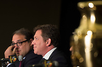 New York, NY - Friday June 24, 2016: CONCACAF president Victor Montagliani, CONMEBOL president Alejandro Dominguez during a press conference prior to the final of the Copa America Centenario at The Westin New York at Times Square.<br /> <br /> Photo during American Cup USA 2016 Press Conference The Westin New York at Times Square --- Foto durante la Conferencia de Prensa previo a la Gran Final de la Copa America Centenario USA 2016, enla foto: Alejandro Dominguez, Presidente CONMEBOL, Victor Montagliani, Presidente CONCACAF, Sunil Gulati<br /> <br /> ---24/06/2016/MEXSPORT/ Jorge Martinez.