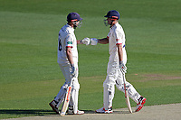 Nick Browne (L) and Alastair Cook of Essex during Essex CCC vs Nottinghamshire CCC, Specsavers County Championship Division 1 Cricket at The Cloudfm County Ground on 14th May 2019