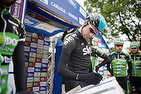 Bradley Wiggins (GBR) signing in<br /> <br /> Tour of Britain<br /> stage 2: Carlisle to Kendal (187km)